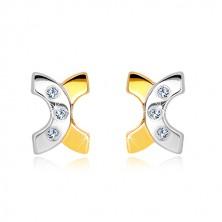 14K kombinált arany fülbevaló - két ív, három átlátszó cirkónia, stekker