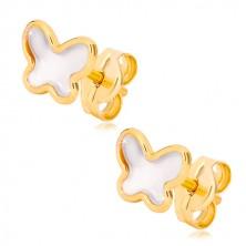 Stekkeres 585 sárga arany fülbevaló - pillangó természetes gyöngyházzal
