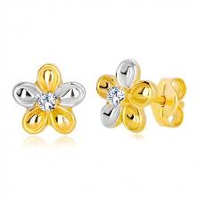Stekkeres 14K arany fülbevaló - kétszínű virág átlátszó cirkóniával