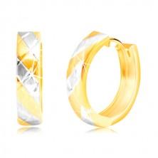 14K kombinált arany fülbevaló váltakozó sávokkal és rácsos mintával