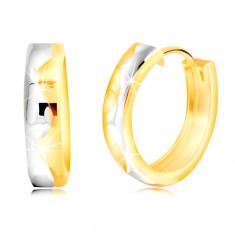 585 kombinált arany karika fülbevaló, gravírozott hullám középen
