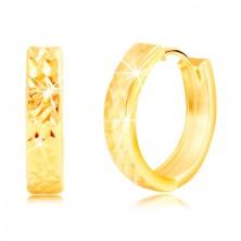 585 sárga arany fülbevaló csillogó csiszolt felülettel és vágatokkal