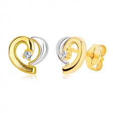 14K kombinált arany fülbevaló - aszimmetrikus szív körvonala, cirkónia