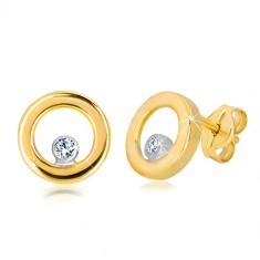 Stekkeres 585 kombinált arany fülbevaló - fényes karika cirkóniával