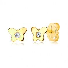 Stekkeres 14K sárga arany fülbevaló - pillangó átlátszó cirkóniával