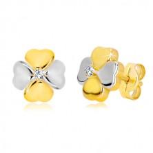 585 arany fülbevaló - kétszínű szerencsehozó négylevelű lóhere cirkóniával