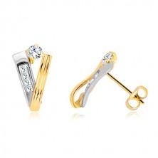 14K arany fülbevaló - szalag sárga aranyból és fehér arany sáv, átlátszó cirkóniák