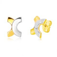 Stekkeres 14K kombinált arany fülbevaló - ívelt X betű