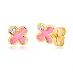 Stekkeres 585 arany fülbevaló - virág rózsaszín fénymázzal és cirkóniával