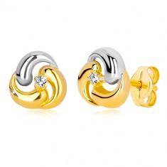 Stekkeres 585 arany fülbevaló - kétszínű virág, három ívelt csepp forma
