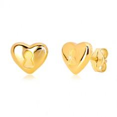 14K sárga arany stekkeres fülbevaló - szív kulcslyukkal