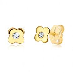 585 sárga arany fülbevaló - négyszirmú virág cirkóniával