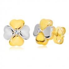 Stekkeres 14K kombinált arany fülbevaló - szerencse szimbóluma cirkóniával