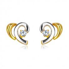 Stekkeres 14K arany fülbevaló - kétszínű ívek cirkóniával