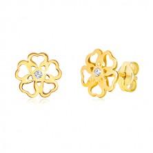 585 sárga arany fülbevaló - virág kivágott szív formákkal, cirkónia