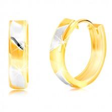 14K arany fülbevaló - kétszínű matt sávok fényes vonalakkal