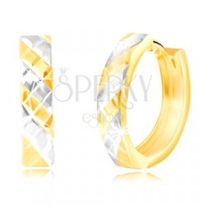 585 kombinált arany fülbevaló, ovális - kétszínű sávok és vonalak