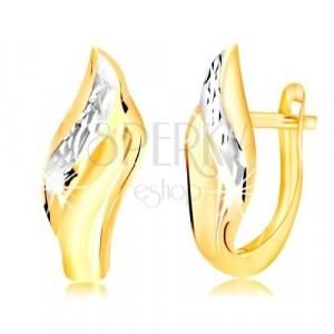14K arany fülbevaló - levél csiszolt vonallal fehér aranyból