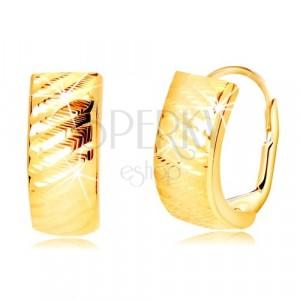 585 sárga arany fülbevaló - ívek ferde vonalakkal, bepattintós zárszerkezet