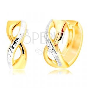 14K arany fülbevaló karika formájú - végtelen szimbólum csiszolt sávval