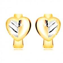 585 kombinált arany fülbevaló - kétszínű teli szív vágatokkal