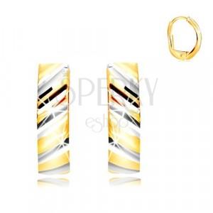 585 kombinált arany fülbevaló - ív gravírozott átlós sávokkal