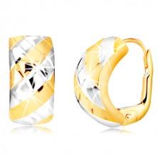 14K kombinált arany fülbevaló - széles ív, rácsos mintával
