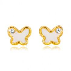 14K sárga arany fülbevaló - pillangó természetes gyöngyházzal és cirkóniával