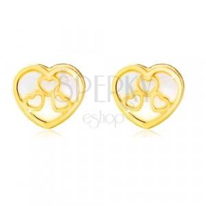 14K stekkeres arany fülbevaló - szív természetes gyöngyházfénnyel és vágatokkal