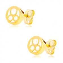 585 sárga arany fülbevaló - kör természetes gyöngyházfénnyel és három gyűrűvel