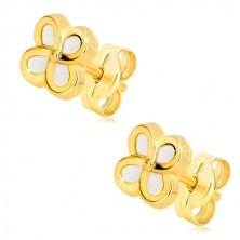 14K sárga arany fülbevaló - virág négy szirommal és gyöngyházfénnyel, stekkeres