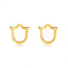 Stekkeres 585 sárga arany fülbevaló - tulipán természetes gyöngyházzal