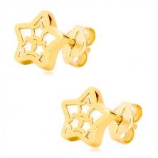 14K sárga arany fülbevaló - csillag motívummal és gyöngyházfénnyel