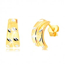 14K arany stekkeres fülbevaló - két matt félkör vésetekkel