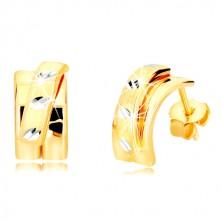 14K kombinált arany fülbevaló - szélesebb ív, matt félkörrel