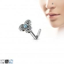 Hajlított acél orr piercing kelta motívummal, cirkóniával