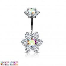 316L acél köldök piercing - két hatlevelű virág cirkóniákkal
