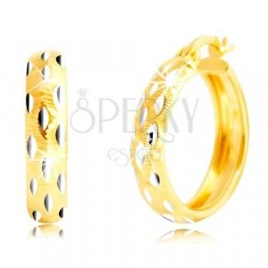 14K arany karika fülbevaló - szemcsék fehér aranyból, apró vágatok