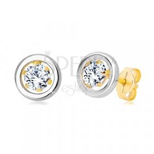 14K arany fülbevaló - kerek cirkónia középen és fehér arany karika