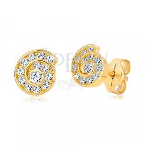14K stekkeres sárga arany fülbevaló - crikóniákkal díszített spirál