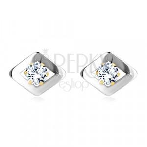 585 kombinált arany fülbevaló - rombusz alakzat fehér aranyból cirkóniákkal