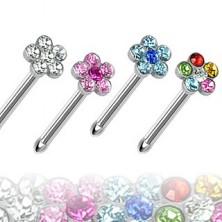 Orr piercing, egyenes szár, cirkónia virágok