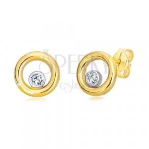 14K kombinált arany fülbevaló - keskeny karika középen cirkóniával