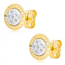 14K kombinált arany fülbevaló - kétszínű karika cirkóniákkal