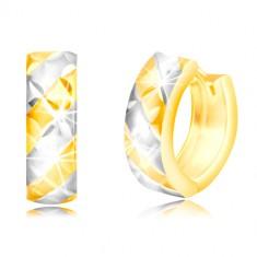 14K arany karika fülbevaló - matt két színű sávok, fényes rács motívum