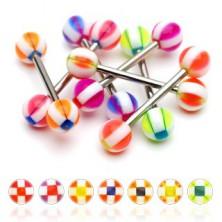 Nyelvpiercing - golyócska négyzet mintázattal