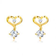 14K sárga arany gyémántköves fülbevaló - szív körvonal