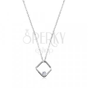 Briliáns 14K fehér arany nyaklánc - fényes rombusz medál gyémánttal