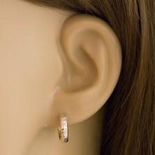 14K arany fülbevaló - vékony karika csiszolt sávval fehér aranyból