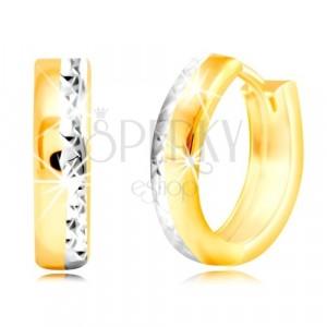 14K arany fülbevaló - karika, vésett oldal fehér aranyból